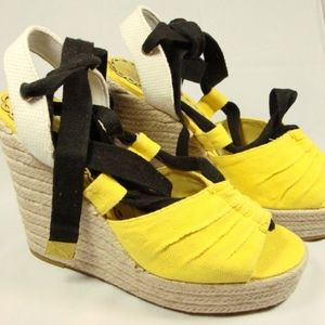 Juicy Couture Yellow Black Canvas Wedge Sandals